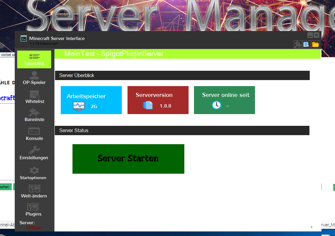 Minecraft ServerManager - Minecraft server erstellen conface